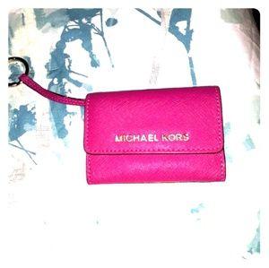 Michael Kors Hot Pink Saffiano Keychain Wallet
